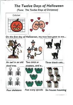 """Songboard - """"The Twelve Days of Halloween"""""""