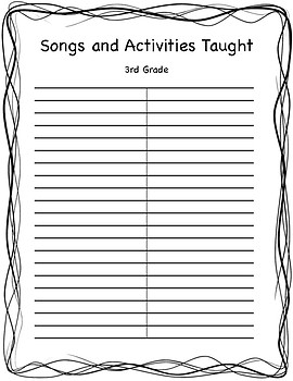 Songs/Activities Blank List