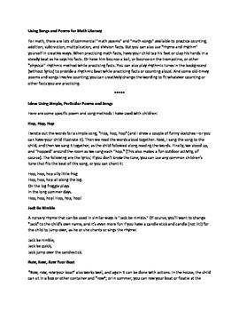 Songs and Poems Literacy Learning Theme