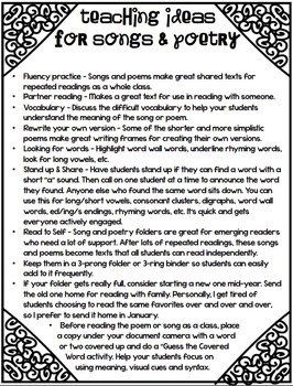 Songs and Poetry To Fill Your Year - First Grade