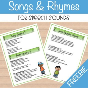 Songs and Rhymes for Speech Sounds