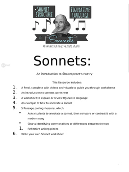 Songs and Sonnets- Two week poetry unit