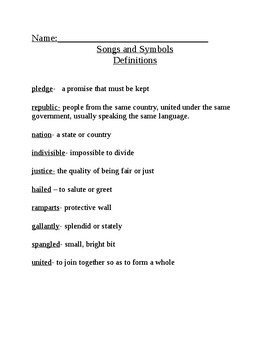Songs and Symbols Definitions