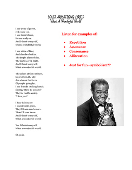 """Songs as Poetry - """"What a Wonderful World"""" Rhyme & other Literary Elements"""