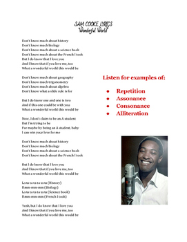"""Songs as Poetry - """"What a Wonderful World"""" Rhyme & other L"""
