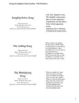 Songs for Algebra Class