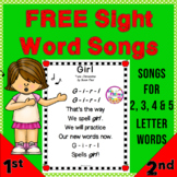Sight Word Songs  FREE  Intervention