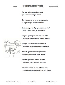 "Songs for Learning the Subjunctive – ""El matrimonio.."" (incomplete actions)"