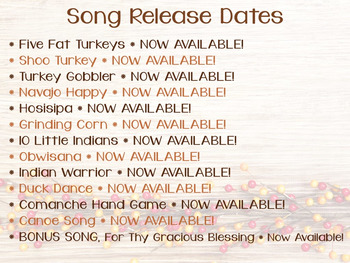 Thanksgiving Music: Songs for Thanksgiving, Autumn and Beyond, set #1