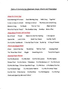 Songs for Toddler, Preschool and Kindergarten Classrooms