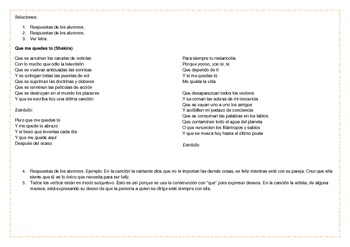 Songs for the Spanish Classroom 3 (Que me quedes tú by Shakira)