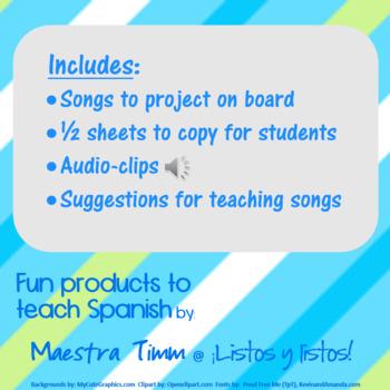 Songs to Teach Spanish:  Grammar Song Bundle I