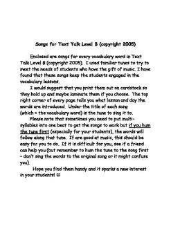 Songs to Teach Vocabulary Words In Text Talk Level B