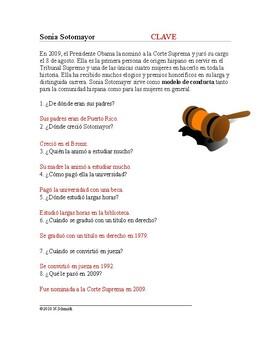 Sonia Sotomayer Biografía: Spanish Biography + Worksheet
