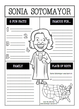 Sonia Sotomayor Interactive Notebook Activities