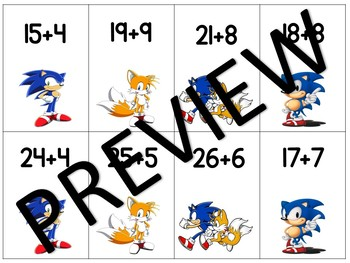 Sonic the Hedgehog Math Fact Game Double Digit Plus Single Digit