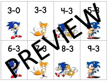 Sonic the Hedgehog Math Fact Game Single Digit Subtraction