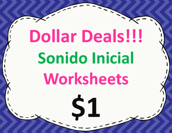Sonido Inicial Worksheets:  Dollar Deal
