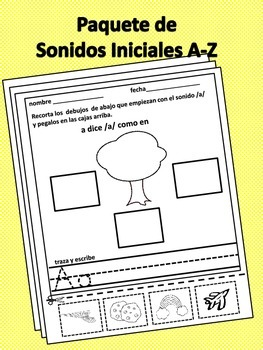 Sonido Iniciales/Beginning Sounds Worksheets in Spanish A-Z