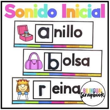Sonido inicial - Tarjetas (Beginning Sounds Centers in Spanish )
