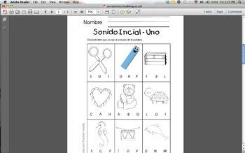 Sonidos Inicial Bilingual Beginning sounds