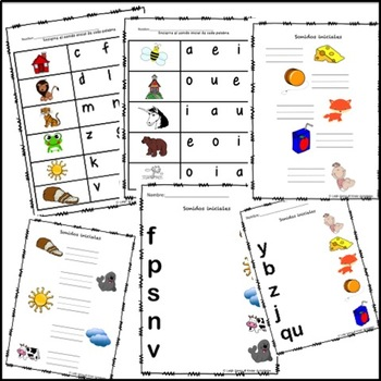 Sonidos Iniciales / Initial Sounds Packet in Spanish