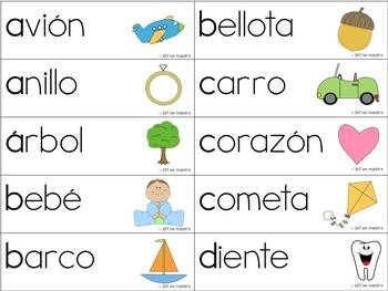 Sonidos Iniciales - Spanish Word Wall Cards & Sorting Mats