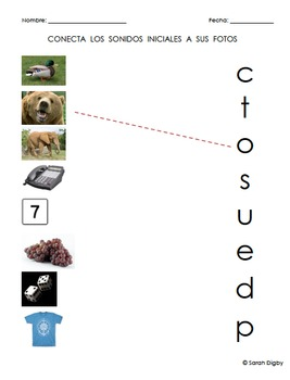 3 Spanish Initial Sounds Worksheets