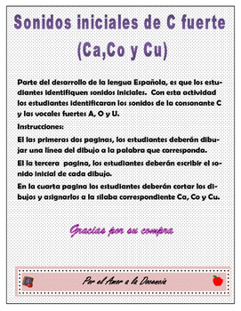 Sonidos iniciales de C fuerte Ca, Co y Cu