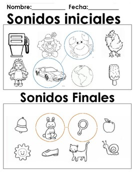 Sonidos iniciales y finales  matching same initial and ending sounds
