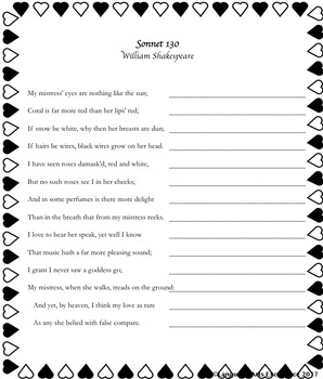 Sonnet 130 Analysis & Writing Activity