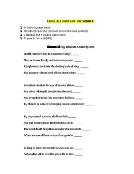 Sonnet 18: Introduction Handout