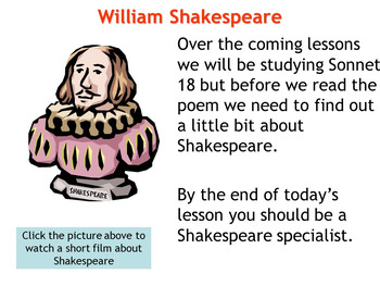 Sonnet 18 'Shall I compare thee to a summer's day?' Shakespeare resources