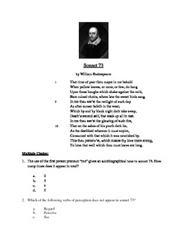 Sonnet 73 - Literary Text Test Prep