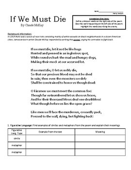 "Sonnet ""If We Must Die"" Poem Analysis Worksheet"