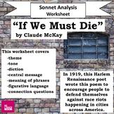 """""""If We Must Die"""" Sonnet Poem Analysis Wkst Claude McKay, B"""