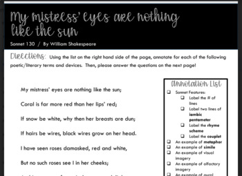"Sonnet Introduction:  Shakespeare's ""My Mistress' Eyes Are Nothing Like the Sun"""