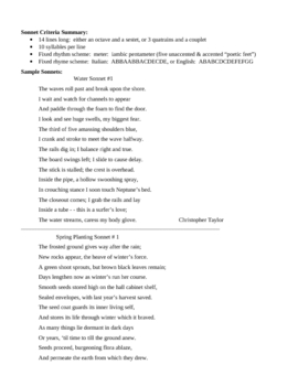 Sonnet Notes and Examples