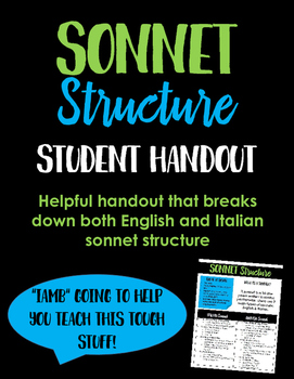 Sonnet Structure: A Helpful Student Handout
