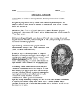 Sonnets Worksheet, Sonnets Quiz, and Answer Key