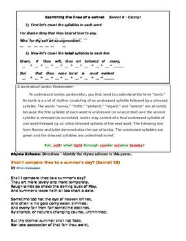 Sonnett Worksheet