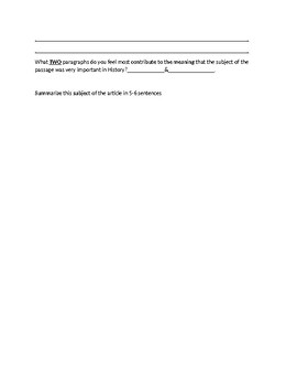 Sonni Ali Biography Article and Assignment Worksheet