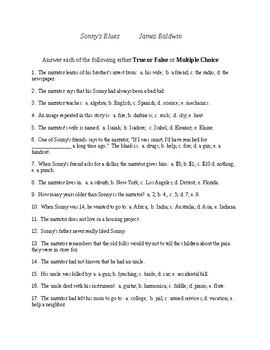 Sonny's Blues Reading Check Test/Quiz