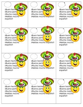 Sonrisas de participacion / Class participation smileys for Spanish class!