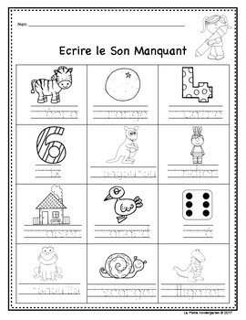 Sons Initiaux  (Beginning Sounds in FRENCH)
