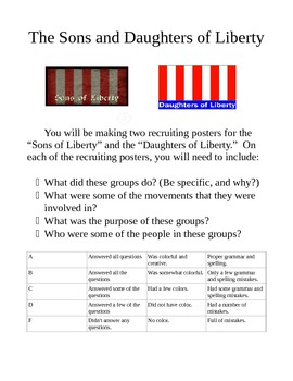 Son's and Daughter's of Liberty Recruiting Poster