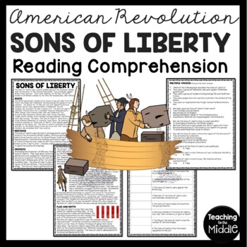 Sons of Liberty Reading Comprehension; American Revolution