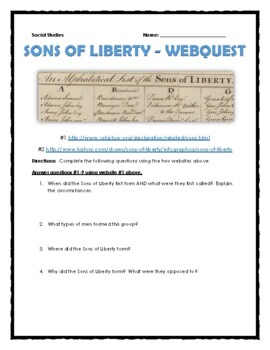 Sons of Liberty - Webquest, Infographic Analysis and Journal Assignment