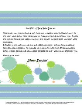 Soothing Colors Teacher Binder