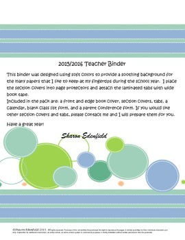 Soothing Colors Teacher Binder